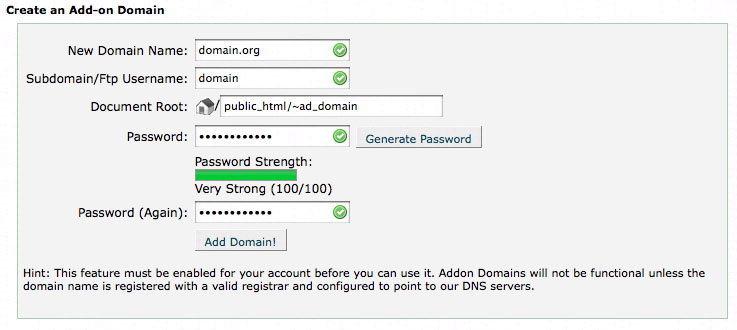 cPanel Addon Domains