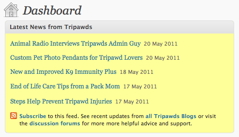 Tripawds WordPress Dashboard Feed of Most Recent Featured Posts