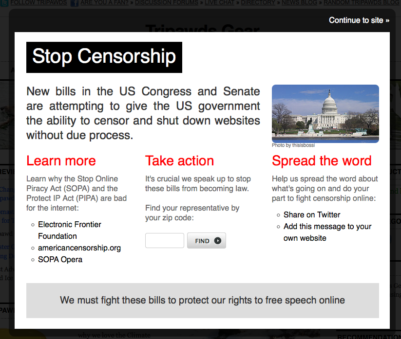 Stop SOPA Widget Pop-up Message