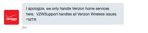 verizon support request twitter reply