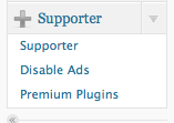 wpmu premium supporter wordpress menu tab