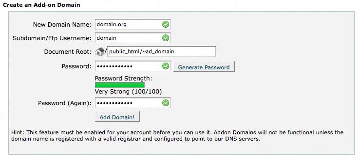 cPanel Addon Domains