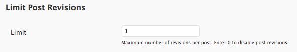 Limit Post Revisions WPMU Plugin Site Admin Option