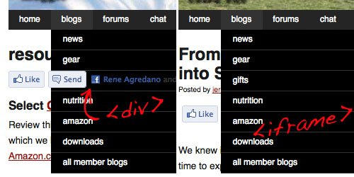 facebook send button script breaks dropdown menu navigation iframe fix