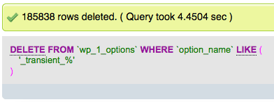 wp_options table delete sql query
