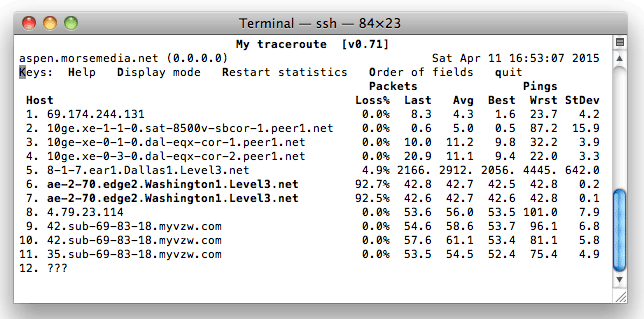 Verizon Network Packet Loss MTR Results
